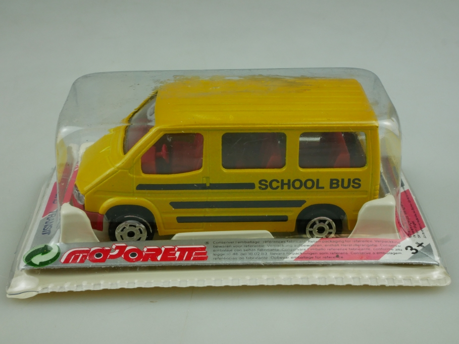 243 Majorette 1/60 Ford Transit School Bus made in Thailand mit Box 513604
