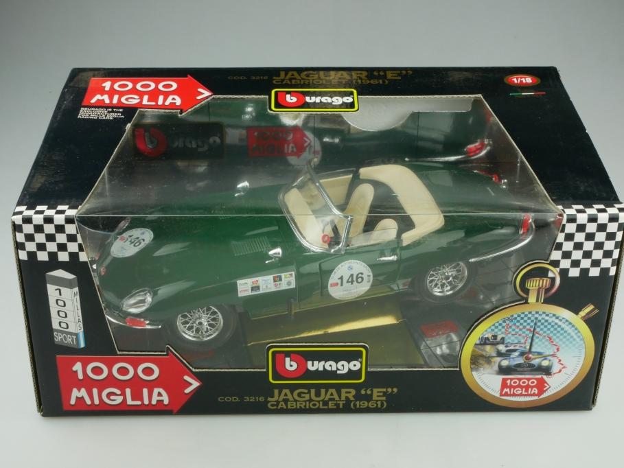 Bburago 1/18 Jaguar E Type Cabriolet 1961 Mille Miglia Racing mit Box 513743