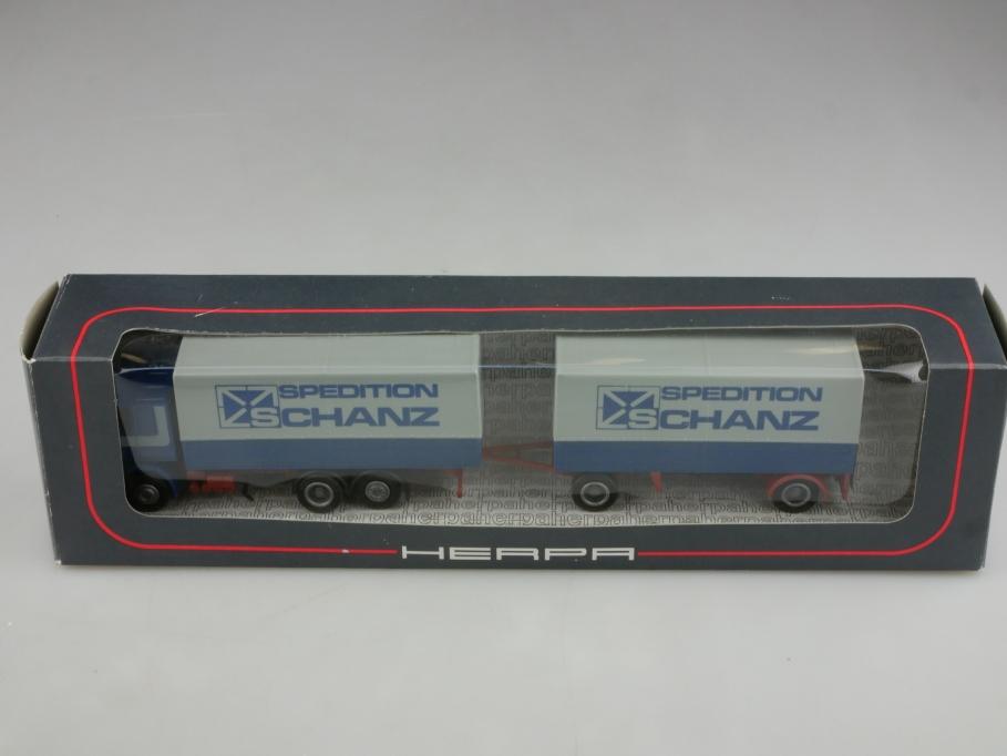 848001 Herpa 1/87 Scania Pritschen Lastzug Spedition Schanz mit Box 513989
