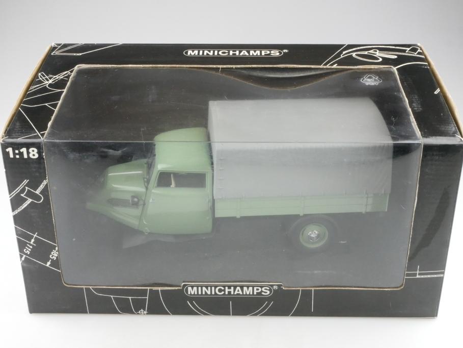 Minichamps 1/18 Tempo Hanseat Dreirad Pritsche Canvas 1952 grün mit Box 514256