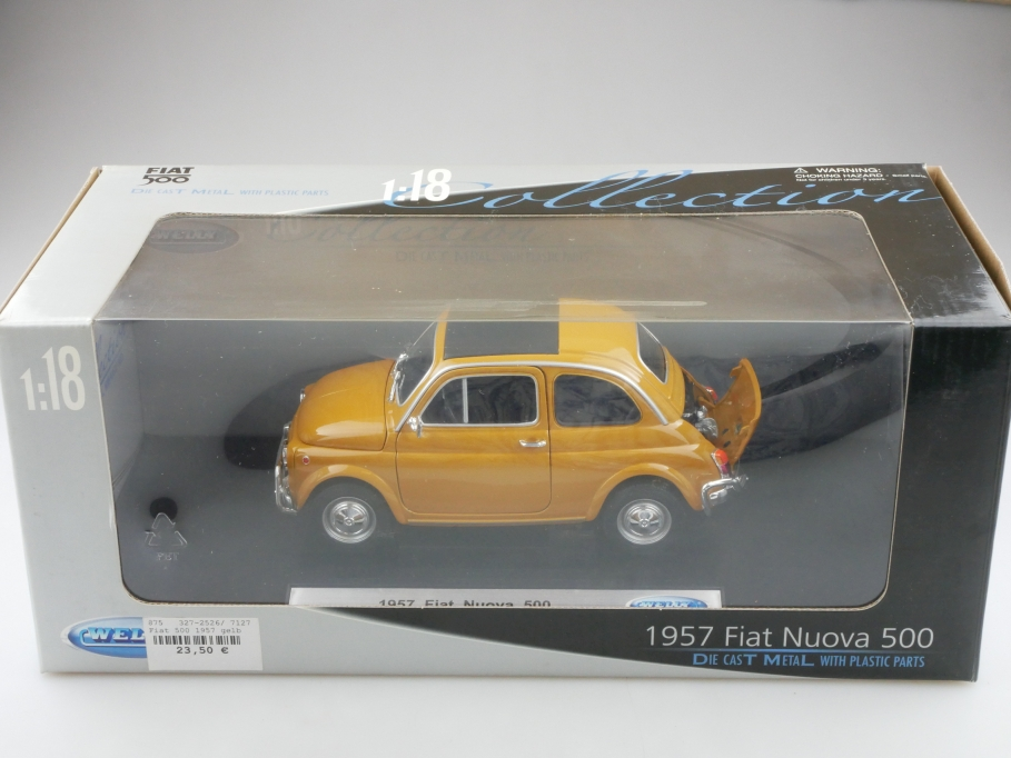 Welly 1/18 Fiat Nuova 500 ockergelb 1957 mit Box 514290