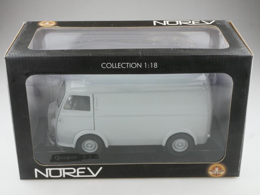 184708 Norev 1/18 Peugeot D3a Lieferwagen 1952 grey mit Box 514329