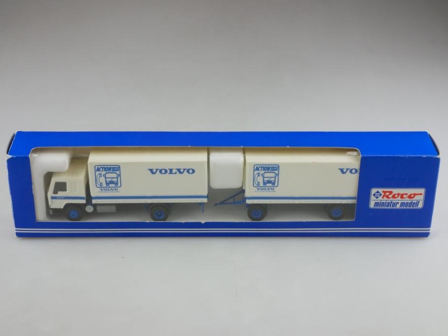1580 Roco 1/87 Volvo Kofferlastzug Action Service mit Box  514382