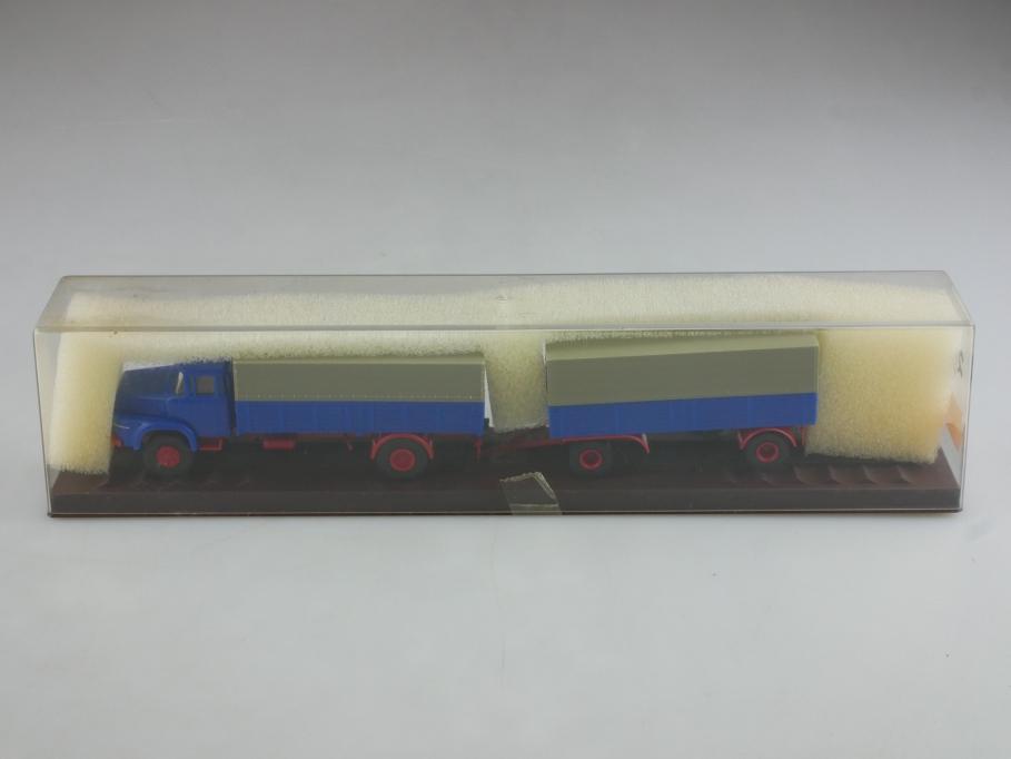 Brekina 1/87 Krupp K 806 Pritschen Lastzug blau mit Box  514385