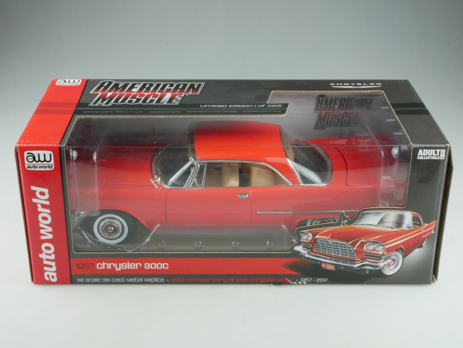 Autoworld 1/18 Chrysler 300 C Hardtop Coupe 1957 corallenrot mit Box 514419