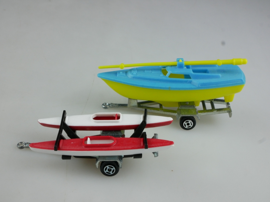 21170&21385 Majorette ca.1/64 Kanu Boat & Trailer Konvolut ohne Box 514445