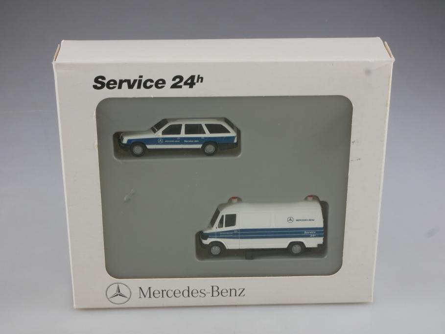 4009034 Herpa 1/87 Mercedes Benz W124 & Transporter Service 24h mit Box 514460