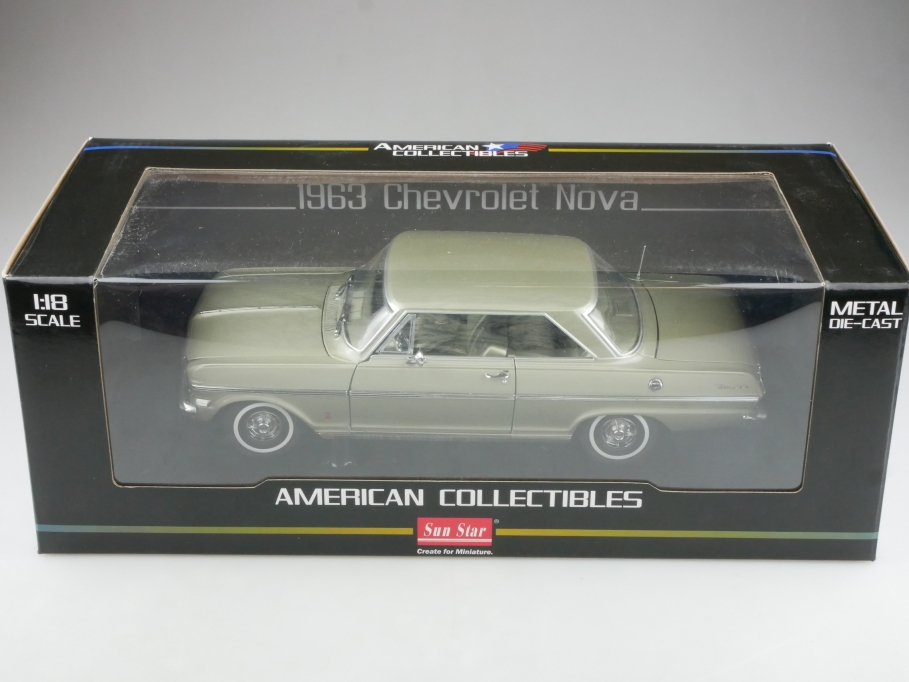 Sun Star 1/18 Chevrolet Nova Coupe 1963 lightgreenmetallic mit Box 514482