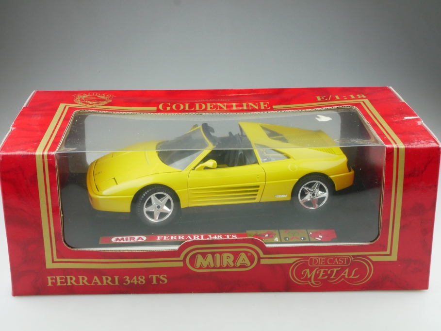 Mira 1/18 Golden Line Ferrari 348 Targa Sport yellow 1989 mit Box 514550