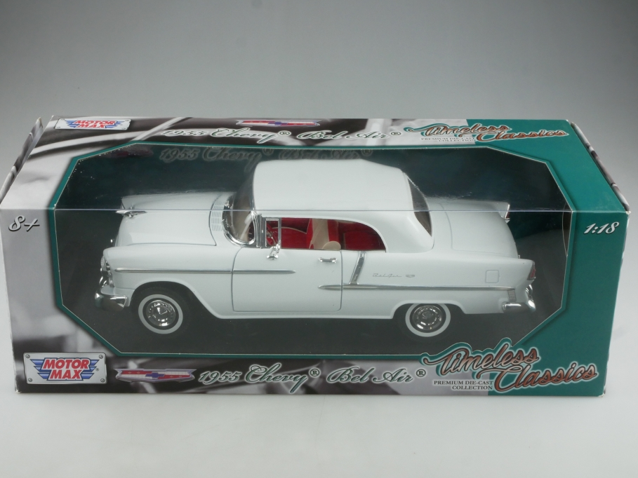 Motor Max 1/18 Chevrolet Bel Air Convertible 1955 Cabrio white mit Box 514563