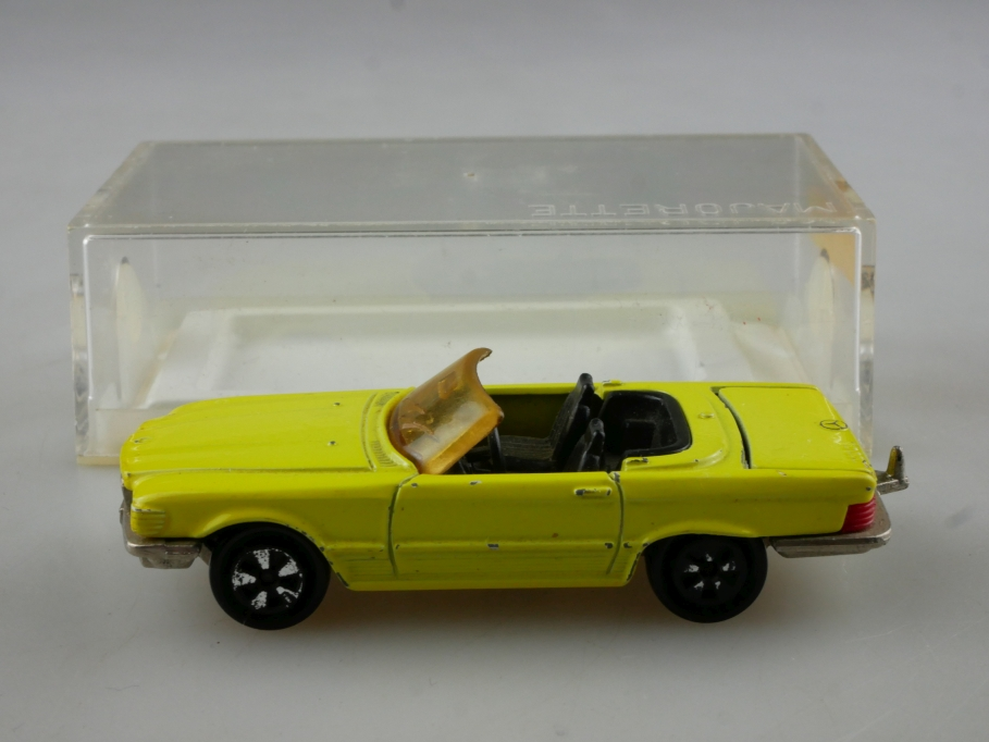 213 Majorette 1/60 Mercedes Benz 350 SL Roadster W107 citrusgelb mit Box 514572