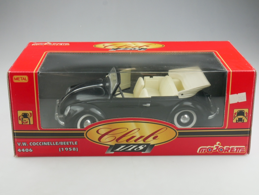 4406 Majorette 1/18 VW Käfer Bug Beetle Convertible black 1958 mit Box 514604