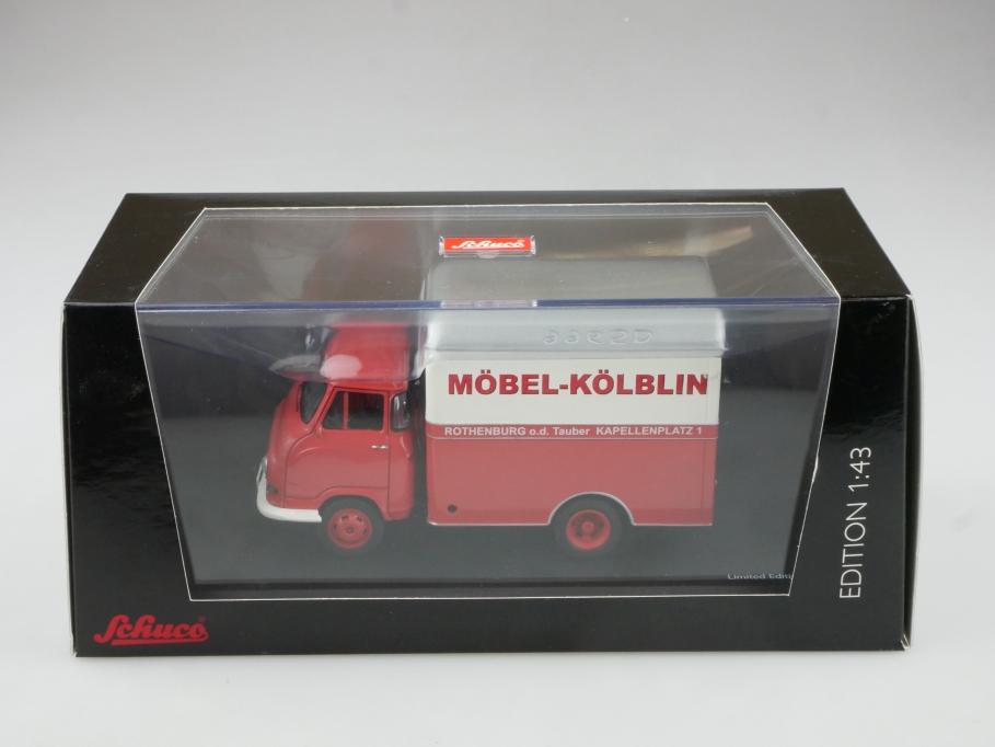 3235 Schuco 1/43 Hanomag Kurier Kastenwagen Möbel Kölblin mit Box 514696