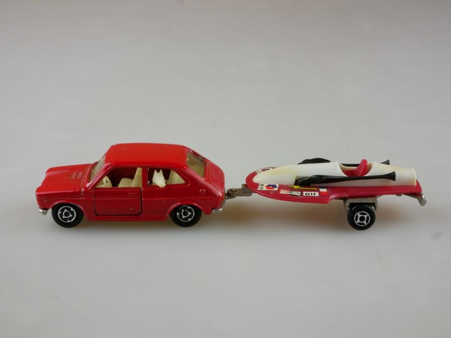 203 Majorette 1/55 Fiat 127 mit Rennboot Anhänger Trailer ohne Box 514795