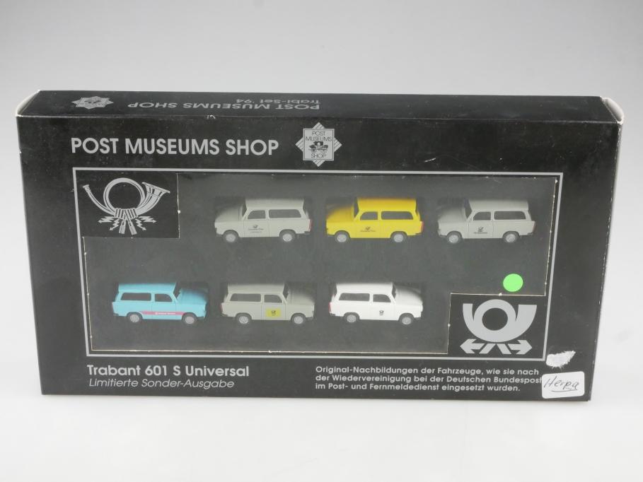 40-01 Herpa 1/87 PMS Set 94 Trabant 601 Universal Post DDR mit Box 514809