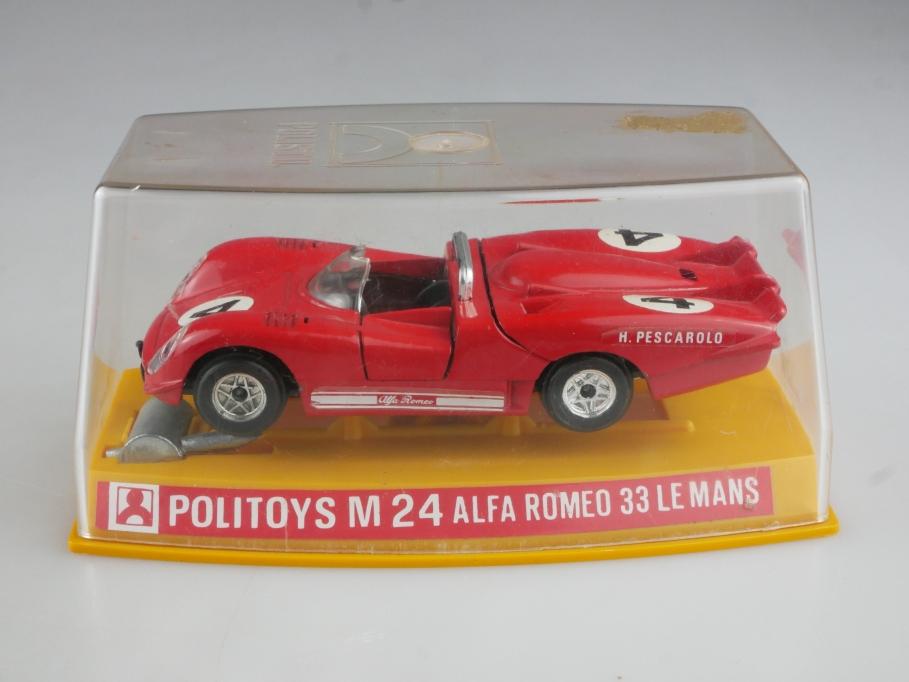 M 24 Politoys 1/43 Alfa Romeo 33 Le Mans Racer Pescarolo mit Box 514864