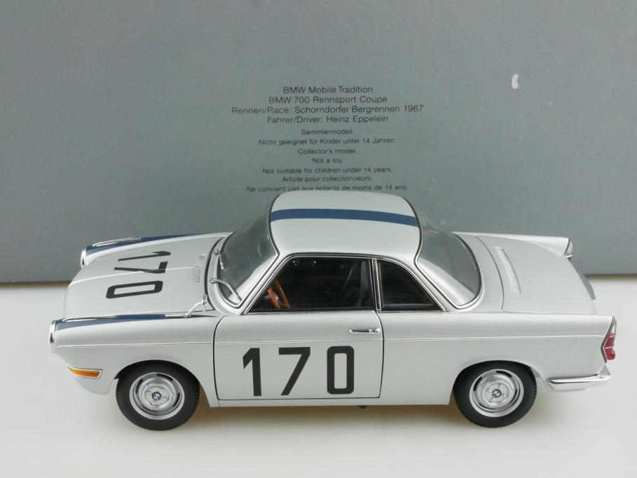 Autoart 1/18 BMW 700 Coupe Schorndorfer Bergrennen 1967 Händleredi. Box 514889