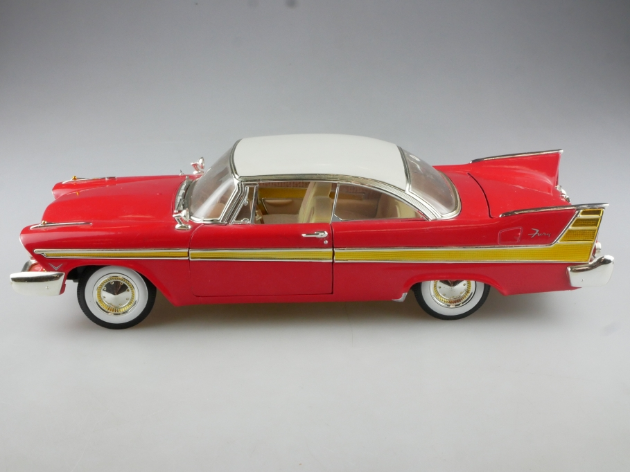 Anson 1/18 Plymouth Fury Hardtop Coupe 1957 red white ohne Box 514976