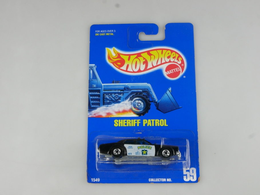 1549 Hot Wheels 1/64 Sheriff Patrol  Police Car 59 Malaysia 1991 mit Box 514993