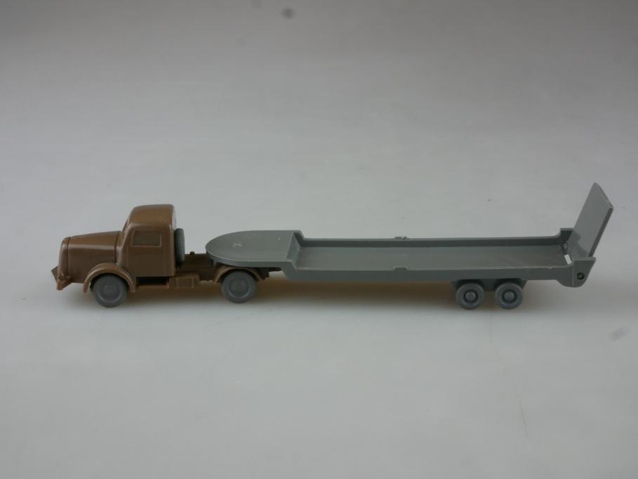 Saure 192 Wiking 1/87 Henschel mit Tieflader betongrau blaßbraun unvergl. 515030