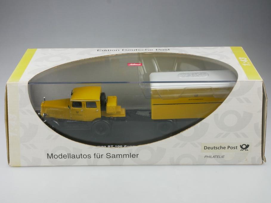6257 Schuco 1/43 Hanomag ST 100 mit Post Kofferanhänger mit Box 515243