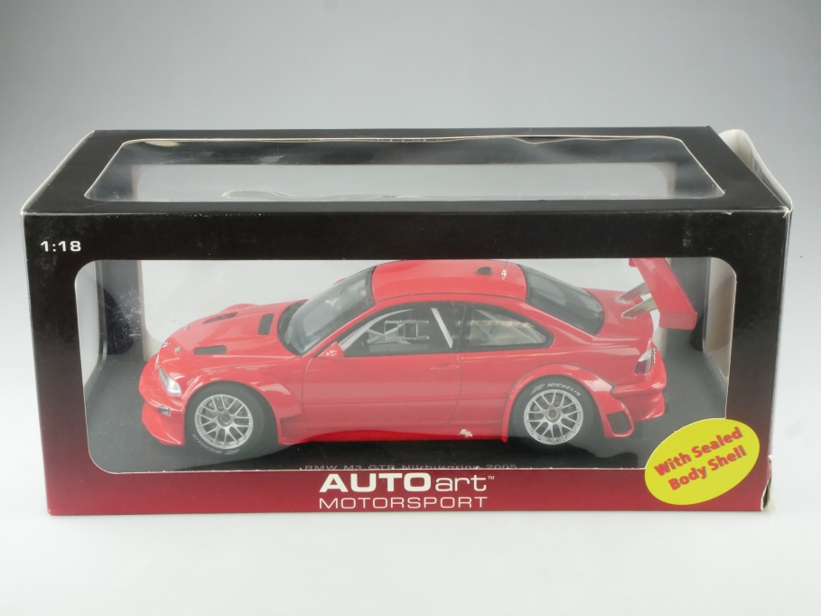 80530 Autoart 1/18 BMW M3 GTR Coupe Nürburgring 2005 plain red Body  Box 515333