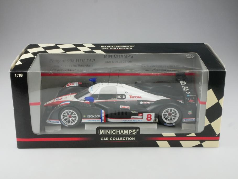 Minichamps 1/18 Peugeot 908 HDI Fab Racer Le Mans 2007 Lamy Sarazzin 515345