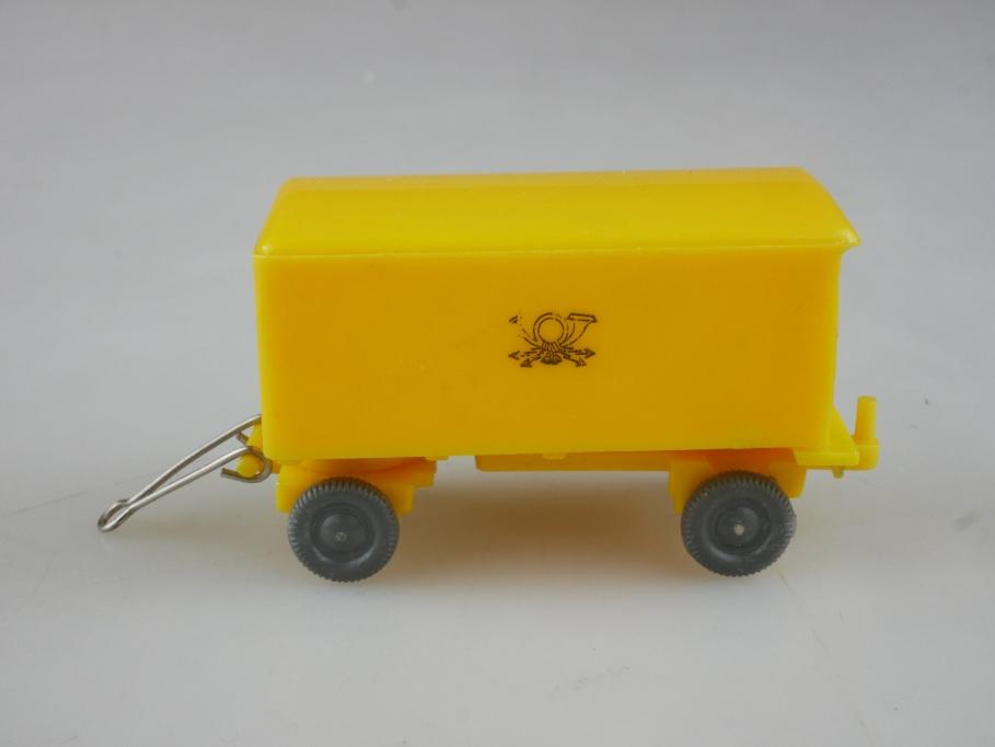 Saure 1022 Wiking 1/87 Postanhänger alt selten hellgelb ohne Box 515435