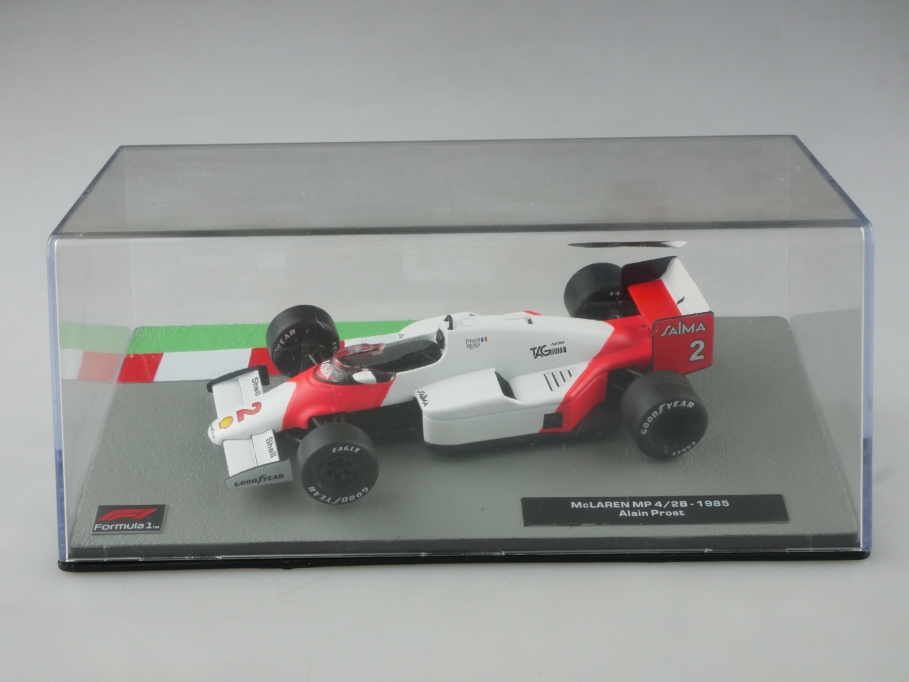 Altaya 1/43 Mc Laren MP 4/2B Alain Prost 1985 Rennwagen mit Box 515556