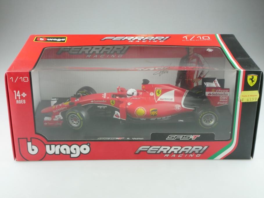 Bburago 1/18 Ferrari SF 15 T Formel 1 Sebastian Vettel mit Box  515658