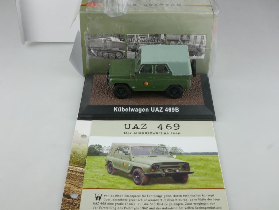 Atlas Ixo 1/43 Uaz 496 B Gaz Jeep Geländewagen NVA DDR Militär mit Box  515691