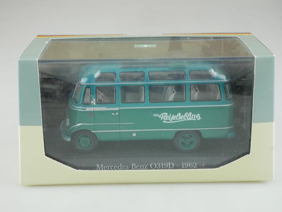 Atlas 1/43 Nutzfahrzeuge Mercedes Benz O 319 D Bus Reiseliebling mit Box 515792