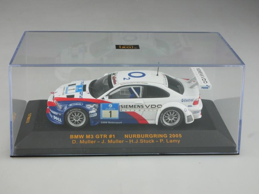Ixo 1/43 BMW M3 GTR Nürburgring 2005 Müller Stuck DTM mit Box 515799