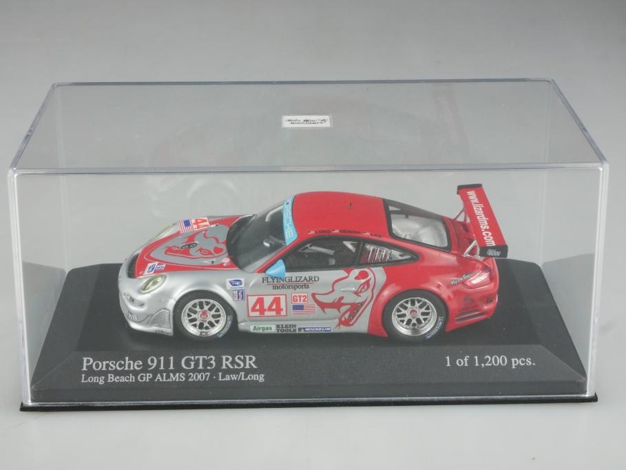 Minichamps 1/43 Porsche 911 GT3 RSR Coupe Long Beach GP ALMS 2007 mit Box 515801