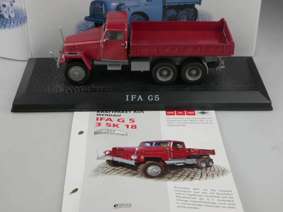 "Modellauto NEU LKW rot IFA G5  /""Kipper/"" IXO // ATLAS 1:43"