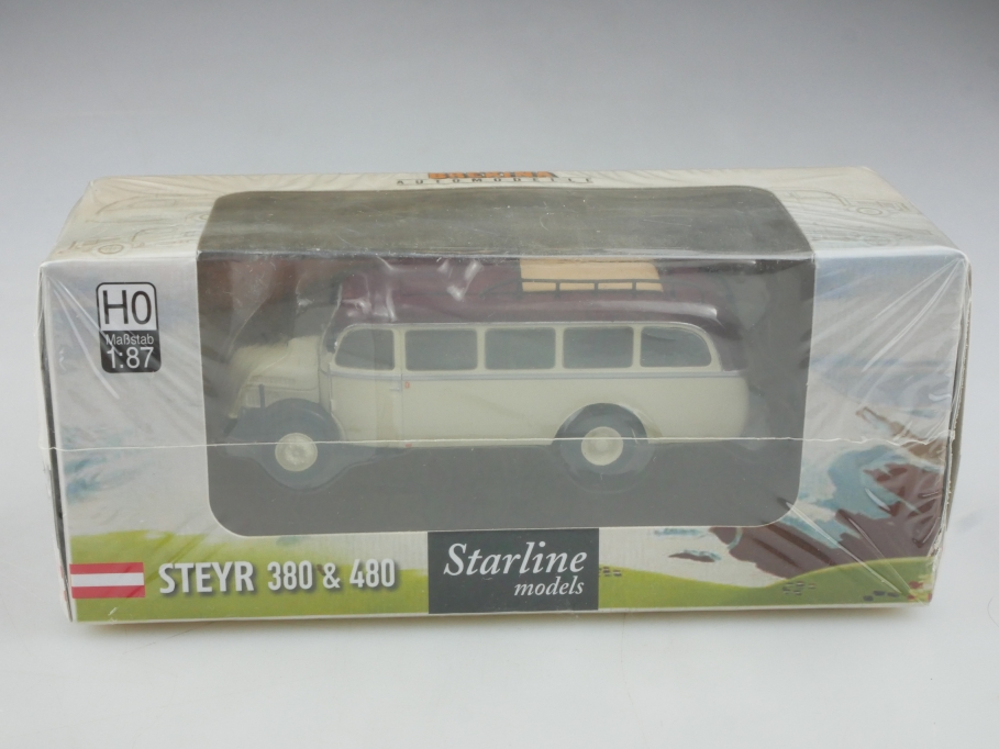 58000 Brekina Starline 1/87 Steyr 380 Omnibus 1953 mit Box 516011