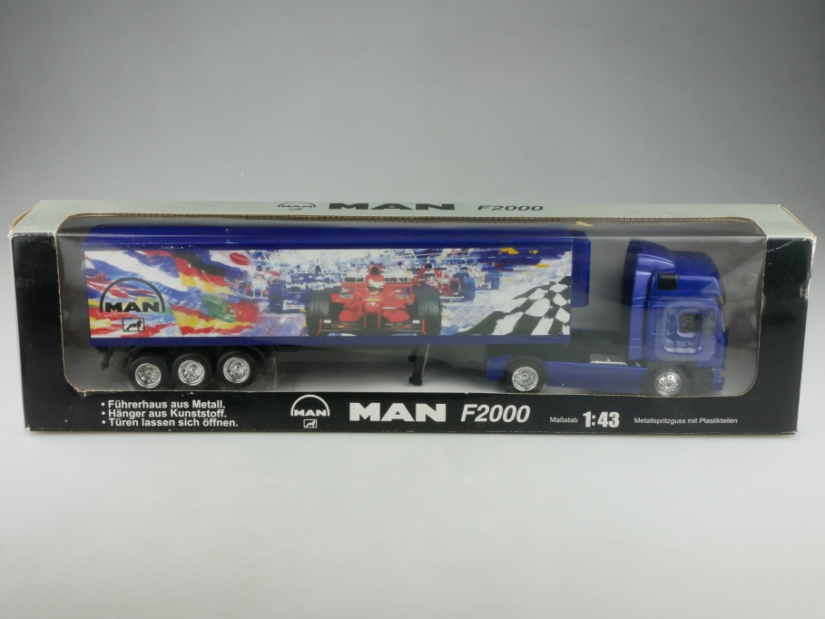 New Ray 1/43 MAN F 2000 Racing Koffersattelschlepper Händleredition Box 516043