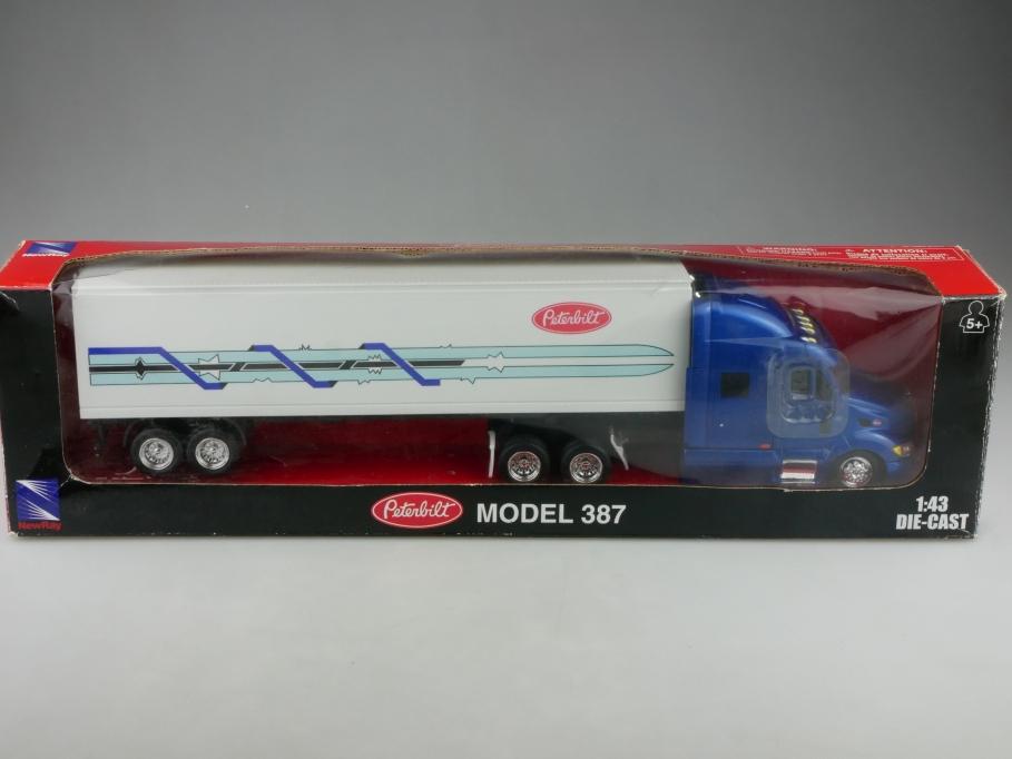 New Ray 1/43 Peterbilt Truck Model 387 Koffersattelschlepper mit Box 516045