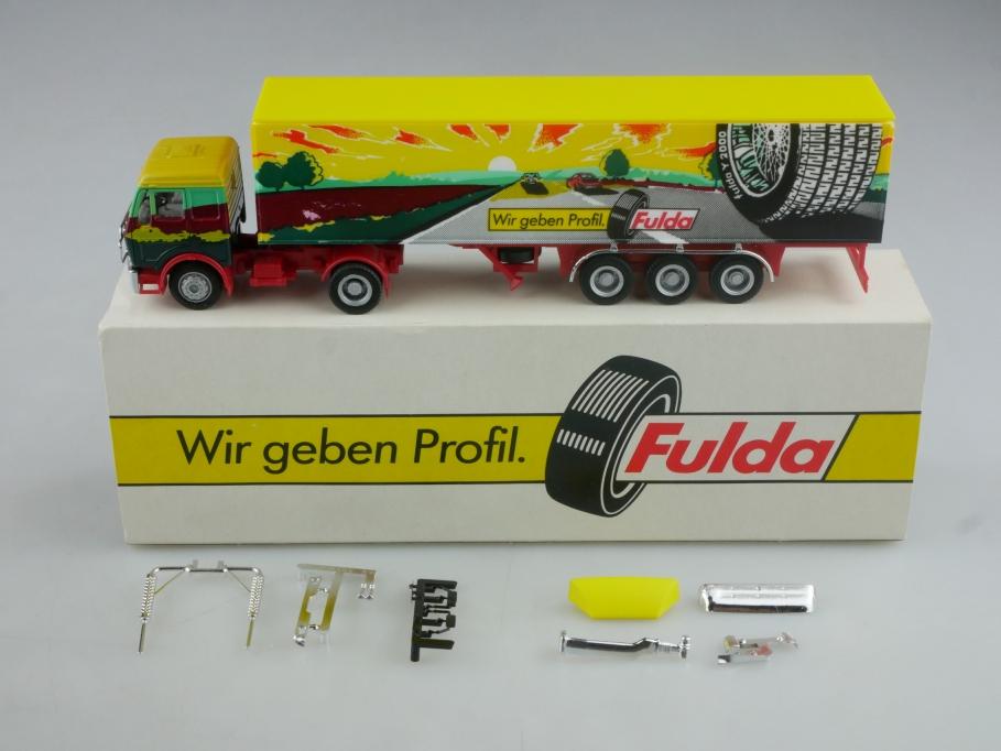 Herpa 1/87 Mercedes Benz Truck Sattelschlepper Fulda Werbemodell mit Box 516047