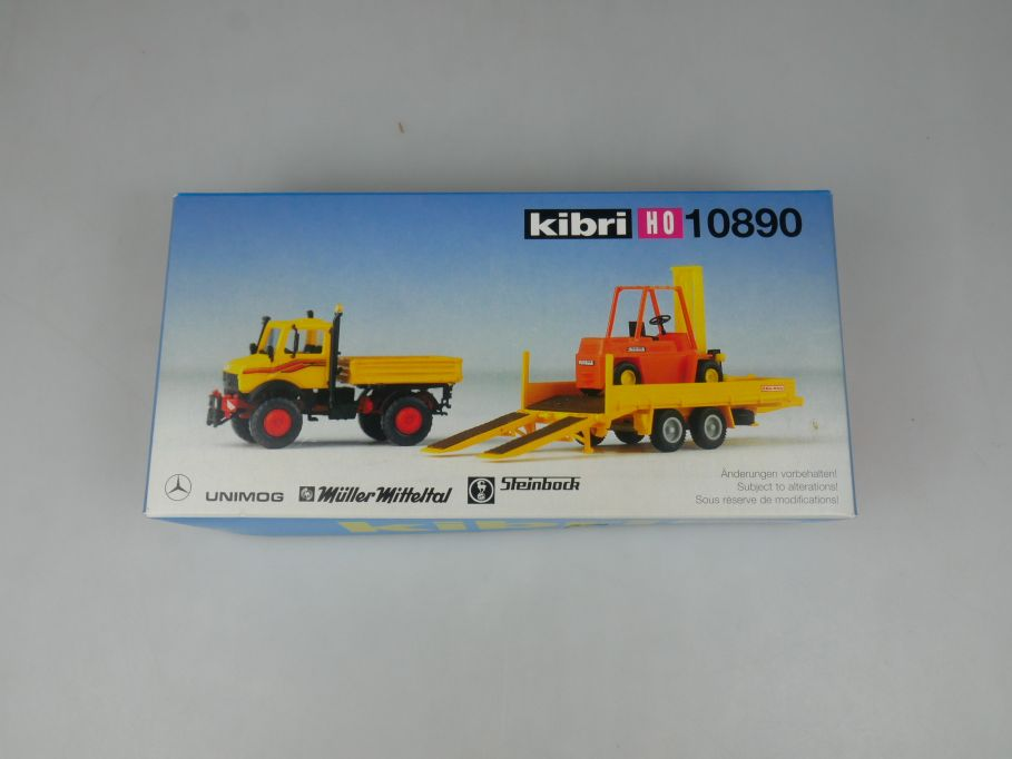 Kibri 1/87 H0 10890 MB Unimog mit 2-achs Hänger und Stapler kit 113126