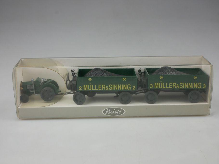 Roskopf 1/87 H0 381 Schlepper mit Kohleanhänger Müller Sinning + Box 113150