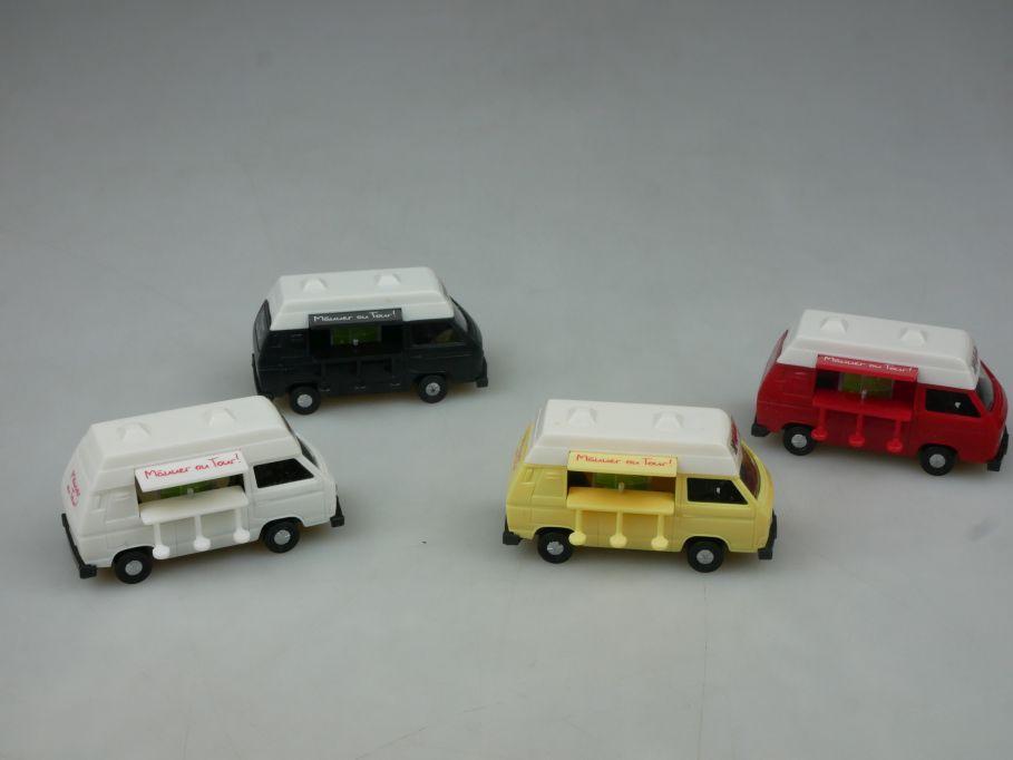 4x 1/87 H0 VW T3 Hasseröder Männer on Tour Camping Multivan Modell Grell 113155