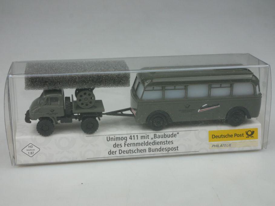 Brekina H0 Unimog 411 mit Baubude DBP Schnellbautrupp Post 018084 Box 113159