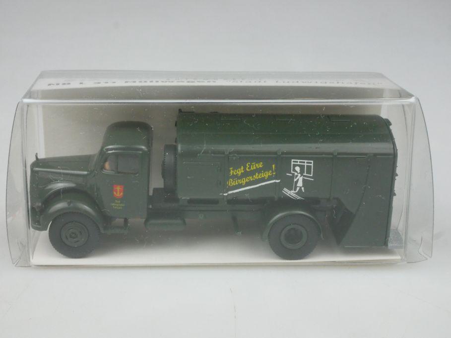 Brekina H0 MB L 311 Müllwagen Stadt Ludwigshafen 40008 Box 113162
