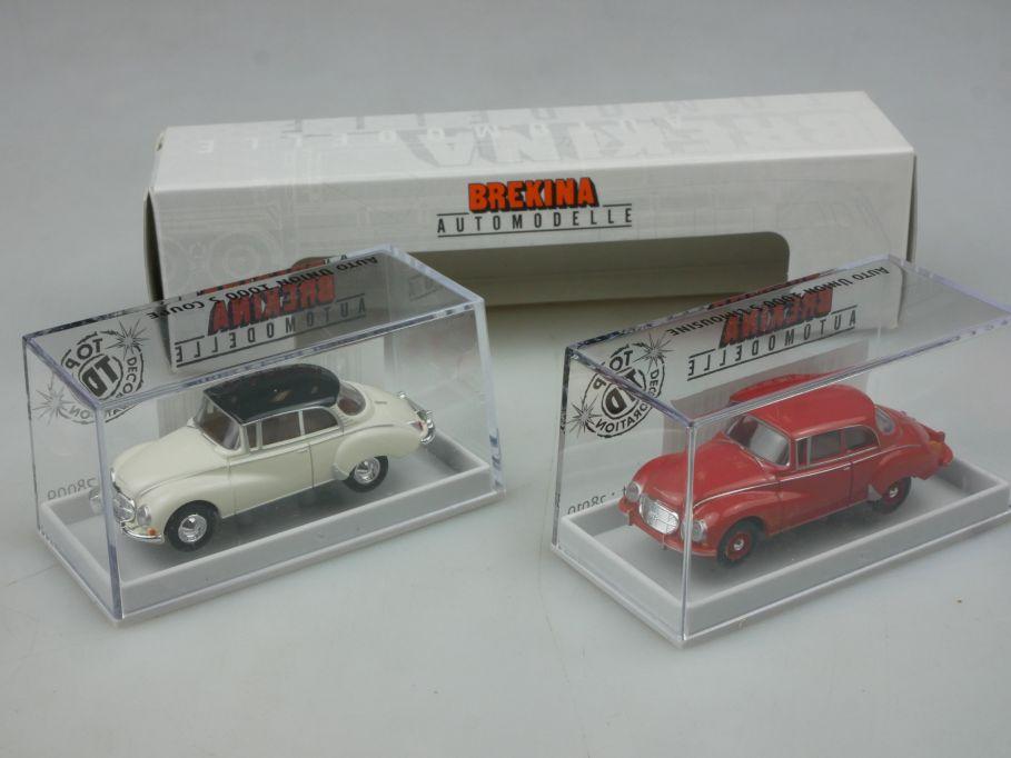 Brekina H0 2er Set Auto Union 1000 S Korallenrot Creme 28010 + Box 113169