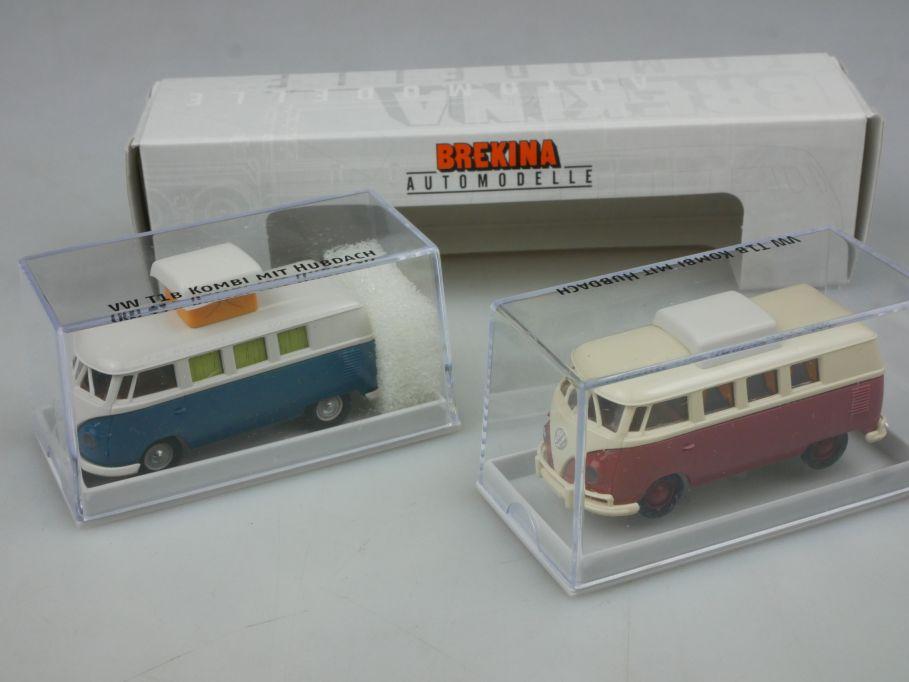 Brekina H0 2er Set VW T1 B Kombi mit Hubdach Volkswagen Bulli + Box 113171