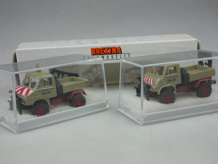 Brekina H0 2er Set MB Unimog 402 411 BAU AG 90392 Box 113173