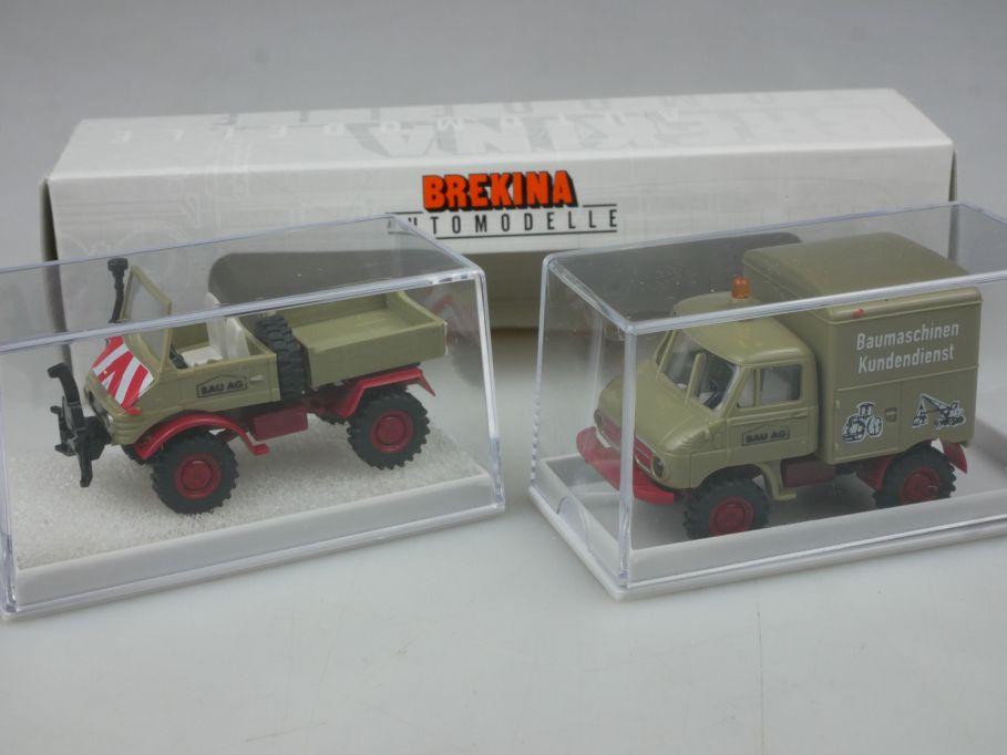 Brekina H0 2er Set MB Mercedes Unimog Bau AG 90392 Box 113176