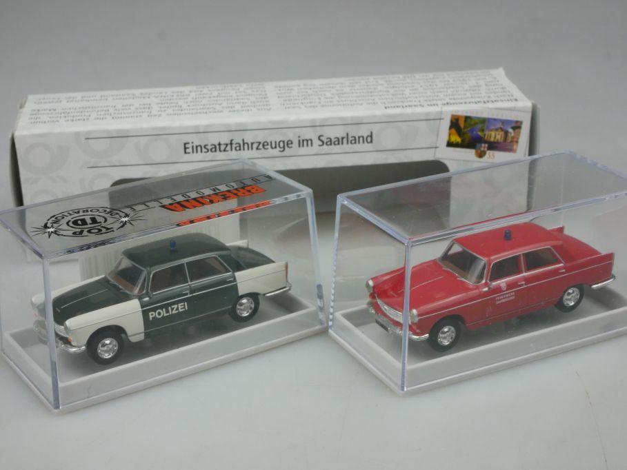 Brekina H0 Set Peugeot 404 Polizei Saarland Einsatzfahrzeuge 010567 Box 113180