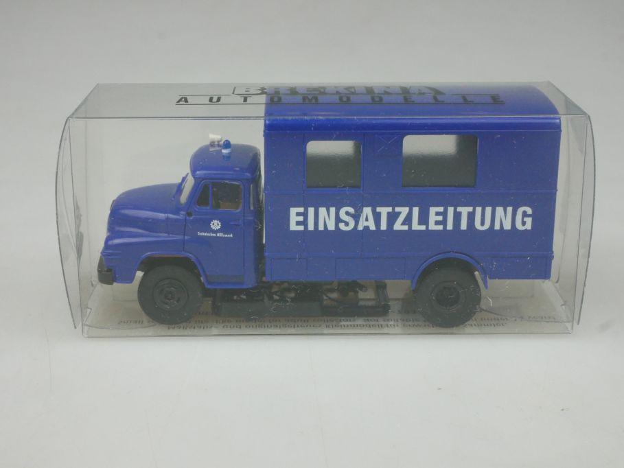Brekina H0 MAN Kurzhauber 635 THW Einsatzleitung LKW + Box 113185
